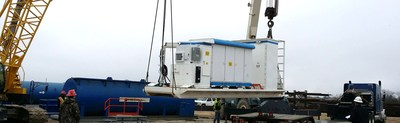 World's First Hybrid Battery Upgrade with Fully Integrated Controls for a Drilling Rig Being Loaded for Deployment