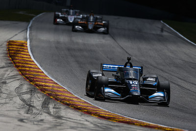 Honda-powered Felix Rosenqvist [#10 leading] came from behind to score his career-first Indy car win Sunday at Road America. Honda and the Chip Ganassi Racing team have won all four opening races in the 2020 NTT INDYCAR SERIES.