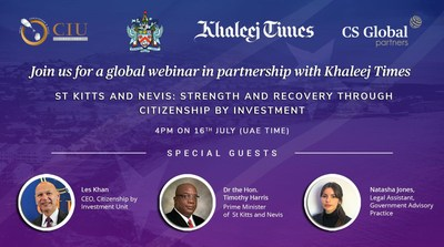 """Join Khaleej Times for a webinar on """"St Kitts and Nevis: Strength and Recovery through Citizenship by Investment,"""" on July 16, 2020 (PRNewsfoto/CS Global Partners)"""