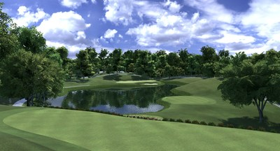 The iconic 12th Hole at Muirfield Village Golf Club as seen on Full Swing GOLF software. Golfers around the globe can now play Muirfield Village GOLF Club just like players from The PGA TOUR this week on Full Swing Simulators.