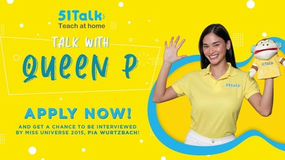 Miss Universe 2015 Pia Wurtzbach, during a livestream show, announced to her millions of fans her new role as 51Talk's Philippine brand ambassador. (PRNewsfoto/51Talk)