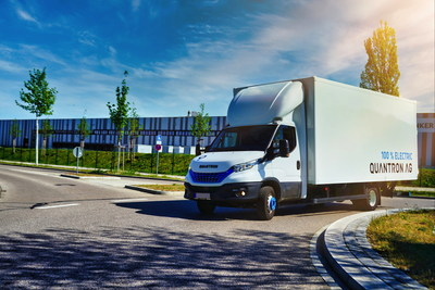 Quantron AG uses the technology of AE Driven Solutions GmbH (AEDS) to implement hydrogen drive solutions for vans from 3.49 tonnes upwards – initially for platform and box body vehicles based on the IVECO Daily, such as the Quantron Q-LIH2. (PRNewsfoto/Quantron AG)