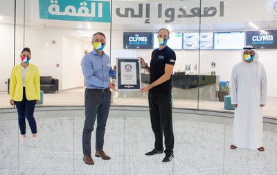 """CLYMB™ Abu Dhabi Awarded """"World's Largest Indoor Skydiving Wind Tunnel"""" GUINNESS WORLD RECORDS™ title (PRNewsfoto/CLYMB™ Abu Dhabi)"""