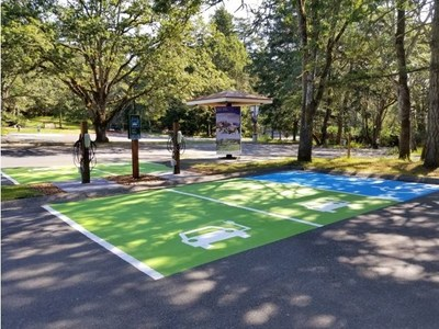 Electric vehicle charging stations at Fort Rodd Hill National Historic Site (British Columbia). Source: Parks Canada (CNW Group/Parks Canada)