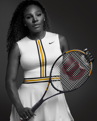 Serena Williams with new Blade SW102 Autograph racket