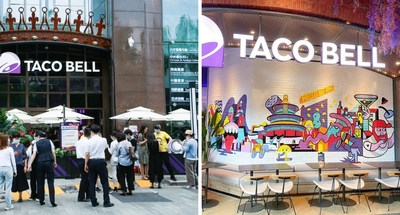 Store front and locally inspired wall art at Taco Bell's new store in Beijing (PRNewsfoto/Yum China Holdings, Inc.)