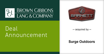 Brown Gibbons Lang & Company (BGL) is pleased to announce the sale of Barnett Outdoors LLC (Barnett), to Surge Outdoors. The transaction furthers BGL's market-leading position in outdoor enthusiast investment banking and as an advisor to companies across a range of branded consumer products.