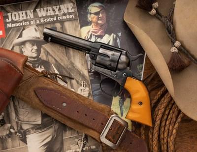 John Wayne's on-screen Colt revolver will cross the podium at Rock Island Auction Company.