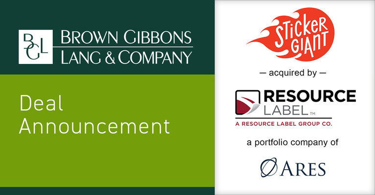 Brown Gibbons Lang & Company (BGL) is pleased to announce the sale of StickerGiant.com, Inc., to Resource Label Group, LLC, a portfolio company of Ares Management Corporation. The transaction furthers BGL's market-leading position in B2B eCommerce and as a trusted advisor to custom printing companies, and strengthens BGL's Consumer Investment Banking Group's leadership in the digitally native B2B eCommerce space.
