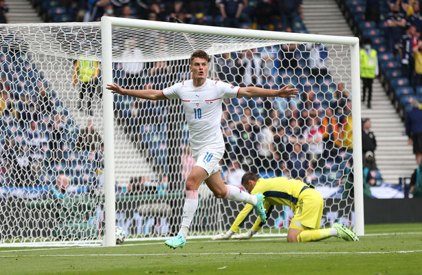 GLASGOW, SCOTLAND – JUNE 14: Patrik Schick of Czech Republic celebrates after scoring their side's first goal during the UEFA Euro 2020 Championship Group D match between Scotland v Czech Republic at Hampden Park on June 14, 2021 in Glasgow, Scotland. (Photo by Steve Bardens – UEFA/UEFA via Getty Images)