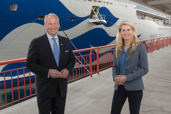 Princess Cruises President Jan Swartz and Port Executive Director Gene Seroka celebrate the maiden call of Majestic Princess to the Port of Los Angeles.