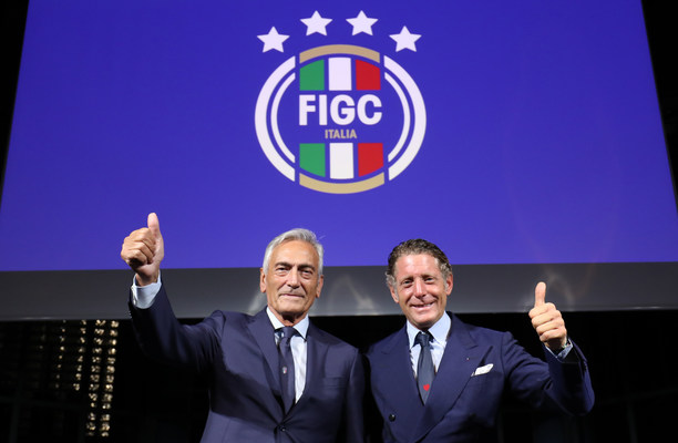 GABRIELE GRAVINA AND LAPO ELKANN WITH THE FIGC INSTITUTIONAL LOGO
